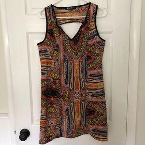 Miss Dior Vintage Patterned V-Neck Cut Out Dress